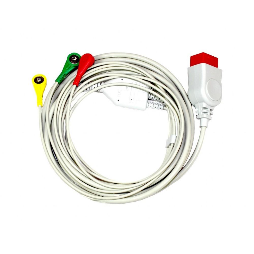 Câble patient ECG 3 conducteurs pour Compact 7 et 9