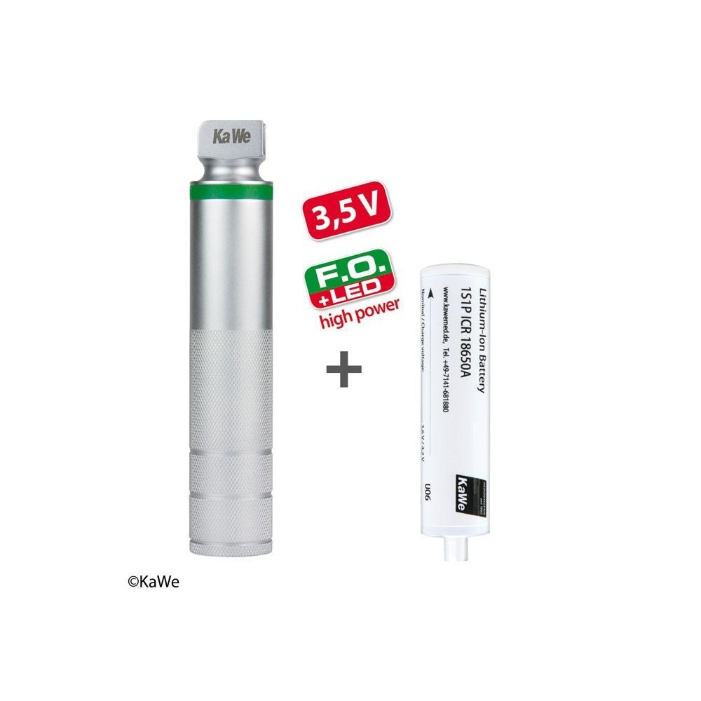 Laringoscopio KaWe FO manico ricaricabile, LED ad alta potenza, medio, batteria inclusa