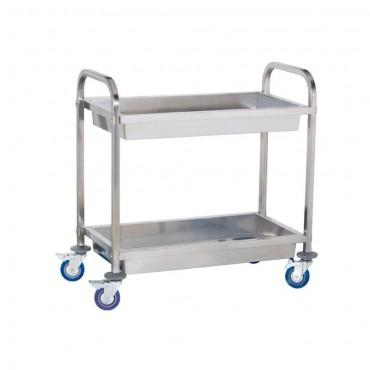 Chariot de transport en acier inoxydable avec 2 cavités - jusqu'à 320 kg