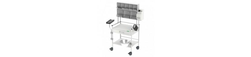 Chariots de soins HAEBERLE pour cabinets et cliniques
